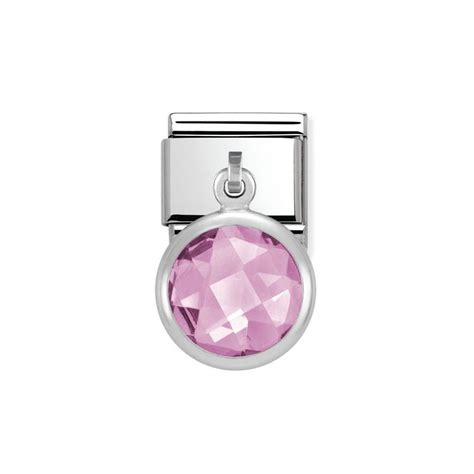 Present Silver Charm With Pink Cubic Zirconia P 1174 nomination silver pink faceted cubic zirconia classic charm 031713 003 greed jewellery
