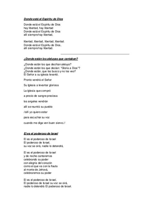 cadenas de coros con letras letras de coros