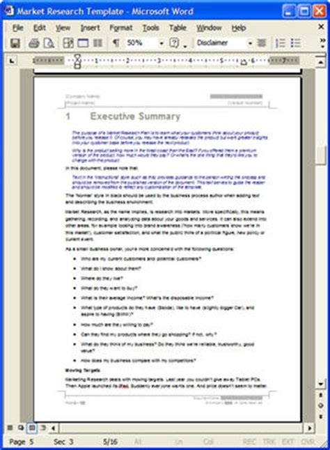 market research template doc inink