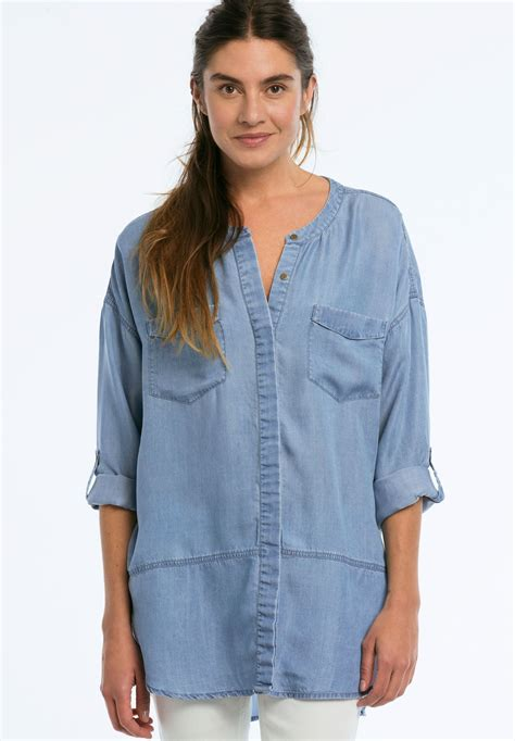 Patches Denim Size Sml button front patch pocket tencel tunic plus size all tunics fullbeauty