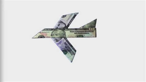 Dollar Origami Plane - how to fold an easy to fold money origami plane design