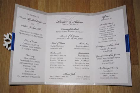 wedding ceremony program ideas diy we winter wedding ceremony program bridalguide