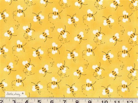 bumble bees on yellow designer quilting fabric 100 cotton