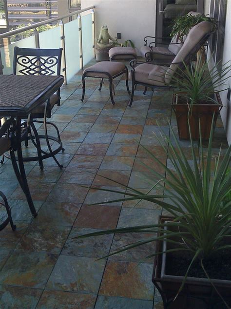 interlocking slate deck tiles on balcony traditional
