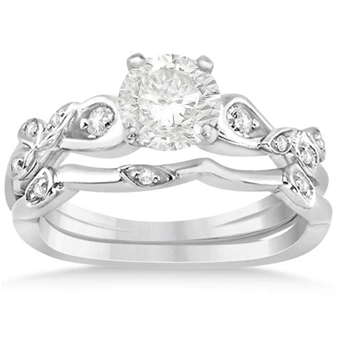 vine leaf engagement ring bridal set 14k white