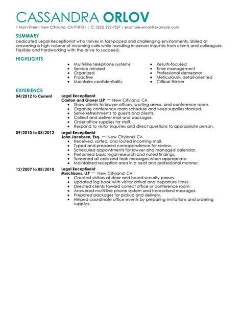 Receptionist Resume Examples Legal Receptionist Resume Example Law Sample Resumes