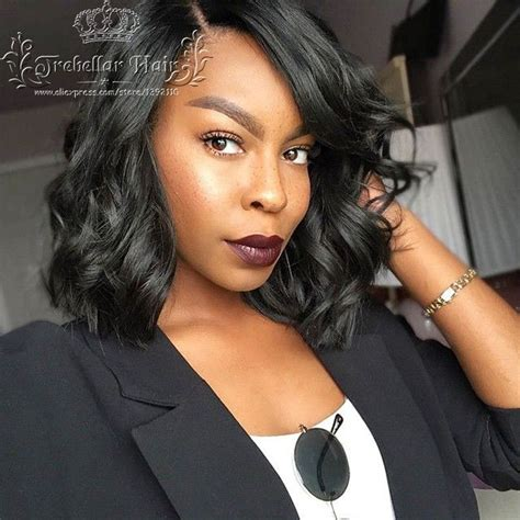 blackwomen short bob body wave hair styles glueless full lace wig brazilian virgin hair bob lace