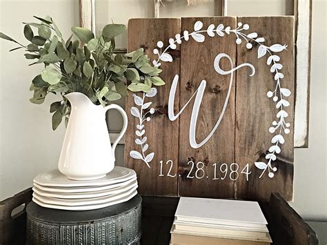 initial home decor rustic home decor initial with wedding date wood wedding