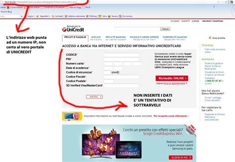 codice unicredit una finta email ci reindirizza ad un sito clone di