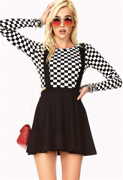 Nzam St Overal Skirt lyst forever 21 chic overall dress in black