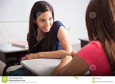 cute teenagers cute teens talking in class stock photo image 41815622