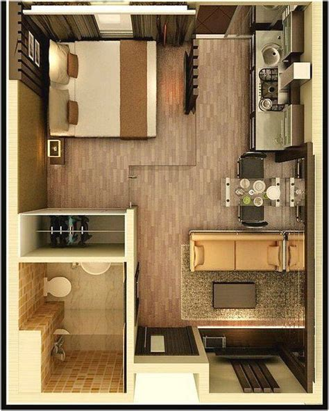 desain sketsa denah rumah kecil  kamar tidur small space ideas pinterest tiny houses