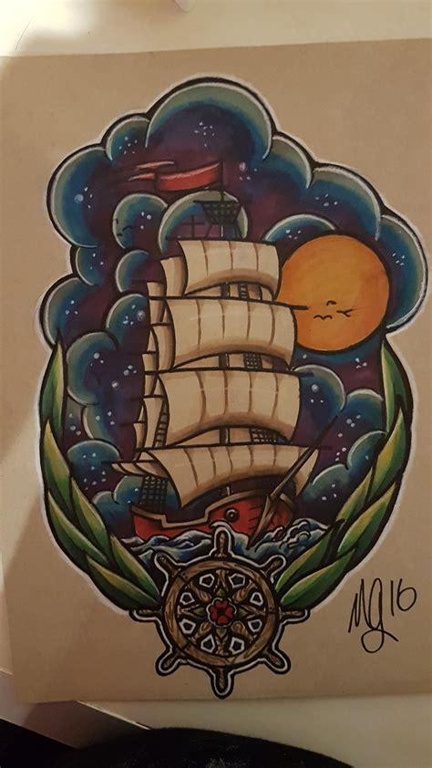 traditional ship tattoo neo traditional ship w sky i