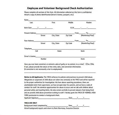 background check form template free 9 background check information forms templates pdf