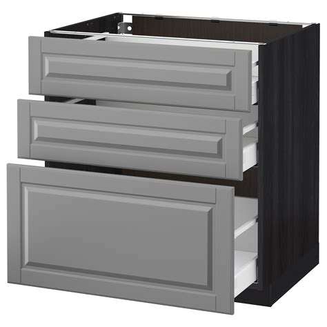 ikea kitchen bodbyn base cabinet with 3 drawers 1 metod maximera base cabinet with 3 drawers black bodbyn