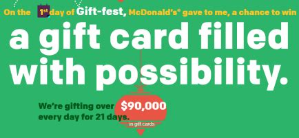 Mcdonalds Giveaway - mcdonald s 21 days of gift fest sweepstakes win 20 000 in american express gift