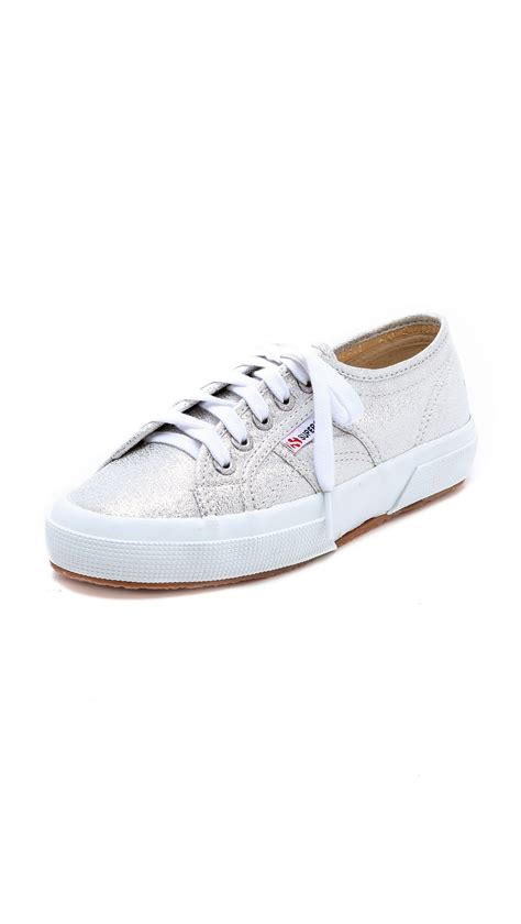 superga sneakers silver superga metallic sneakers in silver lyst