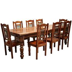 Set Of Dining Table And Chairs Rustic Furniture Solid Wood Large Dining Table 8 Chair Set