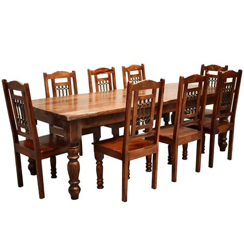 Wooden Dining Table Chairs Rustic Furniture Solid Wood Large Dining Table 8 Chair Set