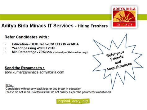 In Aditya Birla For Mba Freshers by Referral Openings Freshers Aidtya Birla Minacs