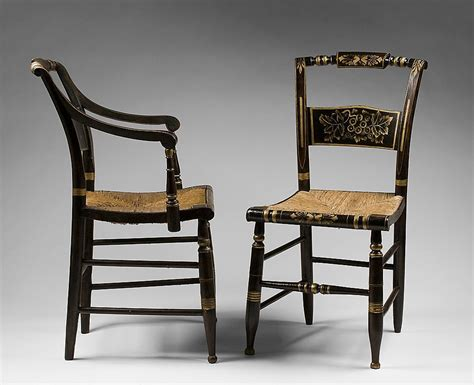 set of seven stenciled 19th c hitchcock chairs from
