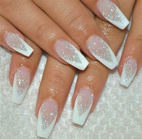 Glitter Nail by Best 25 White Glitter Nails Ideas On Glitter
