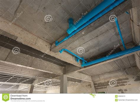 Plumbing Cement by Water Pipes Pvc Plumbing Cement Ceiling Stock Photo