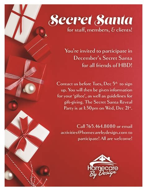 secret at work secret santa sign up by 12 6 home care personal