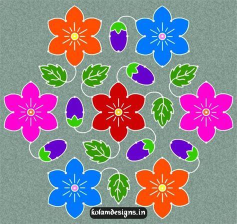 new design flower kolam with dots flower kolam designs rangoli ideas pinterest