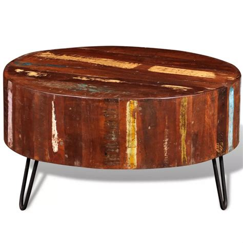 solid oak round table vidaxl co uk reclaimed solid wood round coffee table