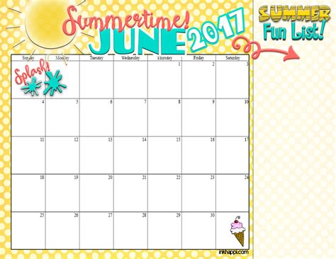 Calendar 2018 Summer Summer Planning Calendars June 2017 Inkhappi