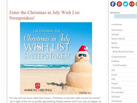 Wish List Sweepstakes - american greetings quot christmas in july wish list quot sweepstakes