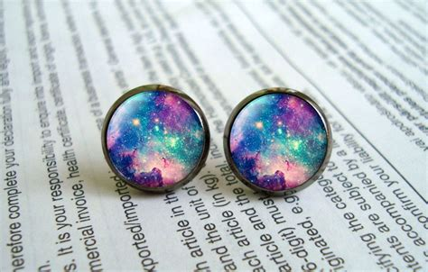 Galaxy Earrings galaxy earring studs nebula stud earrings by earringworld1