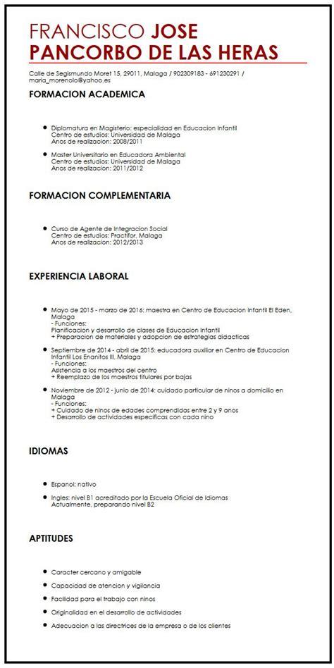 Modelo De Curriculum De Trabajo Sencillo Modelo De Cv Sencillo Muestra Curriculum Vitae