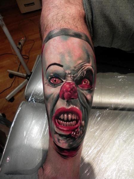 tattoo 3d clown fantasy calf clown tattoo by rock ink