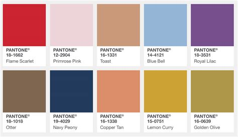pantone color palette pantone s fall 2017 color trends the london edition