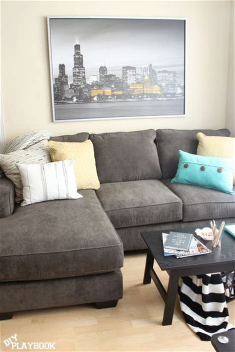 gray sofa yellow accents bright city space wood gray couches and gray