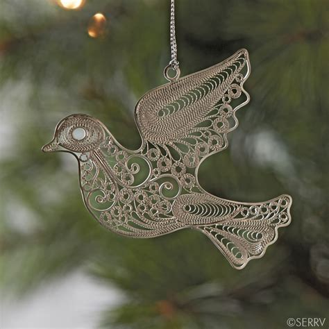christmas ornaments filigree dove ornament