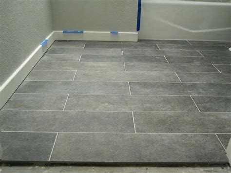 Porcelain Bathroom Floor Tiles Crossville Ceramic Co From The Great Indoors 6 X 24 Planks Color Lead Promo 9 Sq Ft