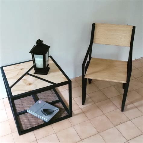 juego de silla  mesa en herreria  madera  en
