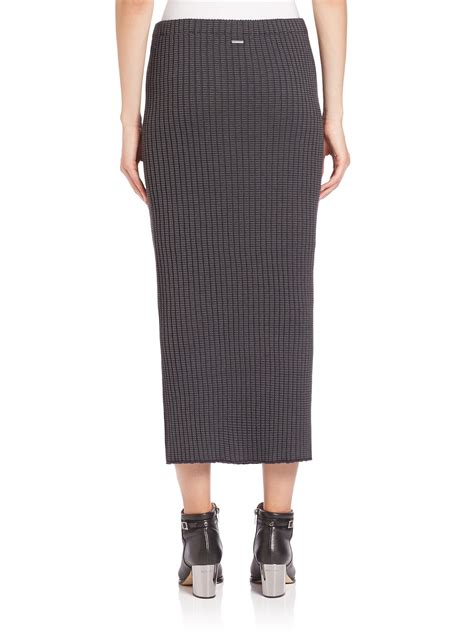 knit pencil skirt wes gordon rib knit pencil skirt in gray lyst