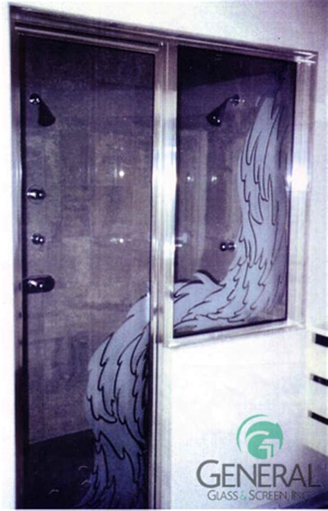 Waterfall Shower Doors Custom Etching