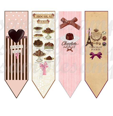 printable paris bookmarks 4 bookmarks digital image bookmark chocolate heart paris