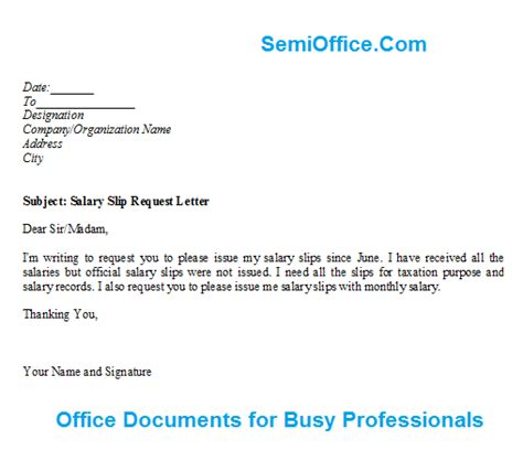 Request Letter Sle For Payslip Salary Slip Request Letter Format
