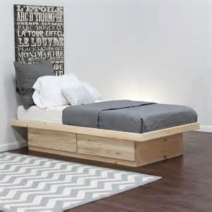 Pine Platform Bed With Drawers Platform Bed With 2 Drawers In Pine