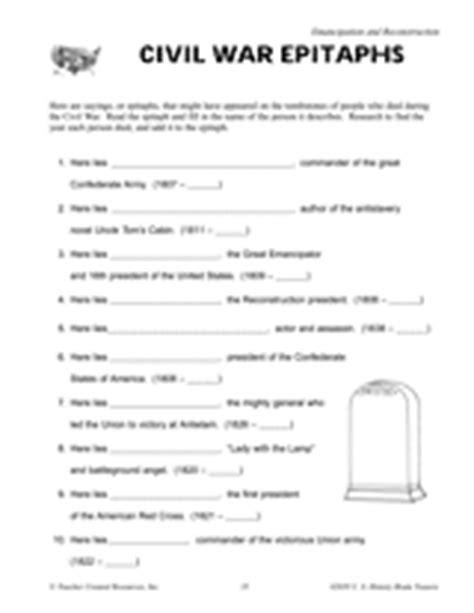 civil war worksheets 5th grade printable civil war epitaphs printable 5th 8th grade