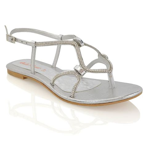 sparkly sandals flat womens flat strappy sandals diamante cut out
