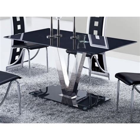 Dining Table Black Legs Kiara Dining Table Black Glass Stainless Steel Legs Dcg Stores