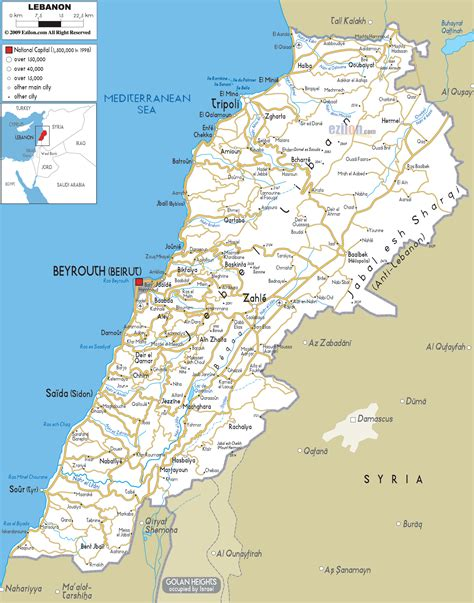 map of lebanon libanon stra 223 enkarte