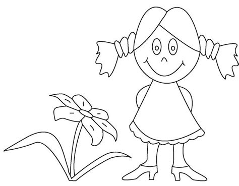 coloring pages flower girl print little girl and flower coloring pages easy or